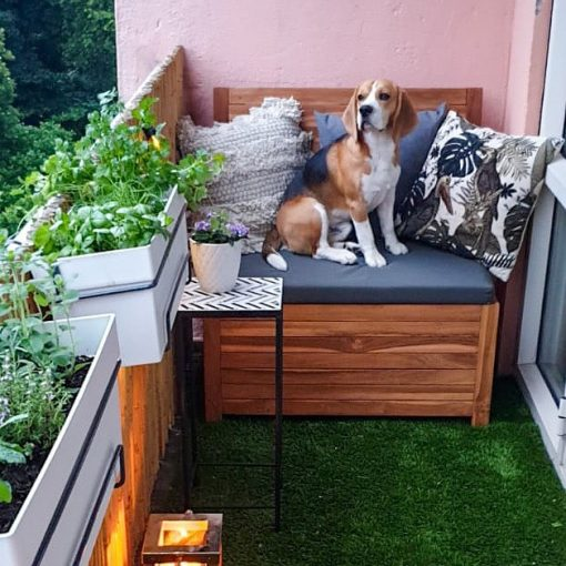 Even pets love the balcony bench!