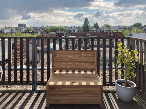 The Balcony bench of 100 cm wide on a roof terrace in Amsterdam