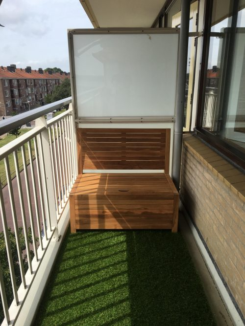 Create a nice place in the sun with this small wooden Balcony Bench