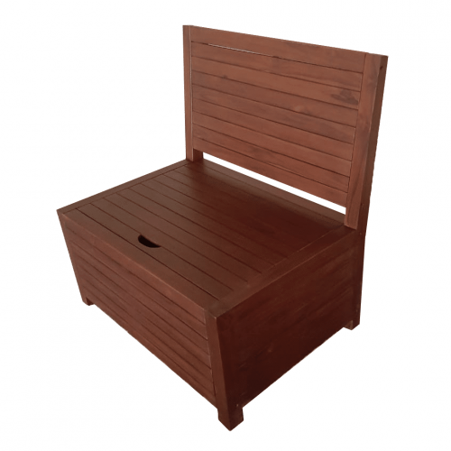 Dark teak balcony bench with storage space