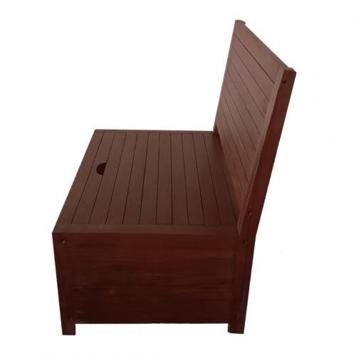 Dark teak balcony bench with storage space