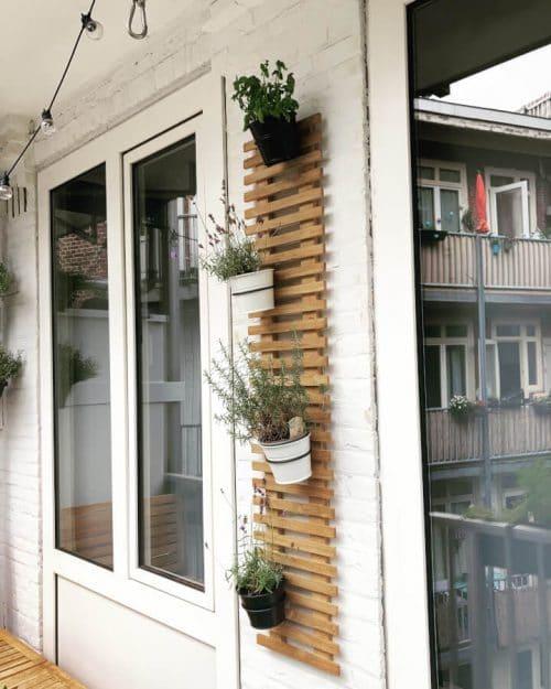 Teak plant wall rack - 30 x 150 cm