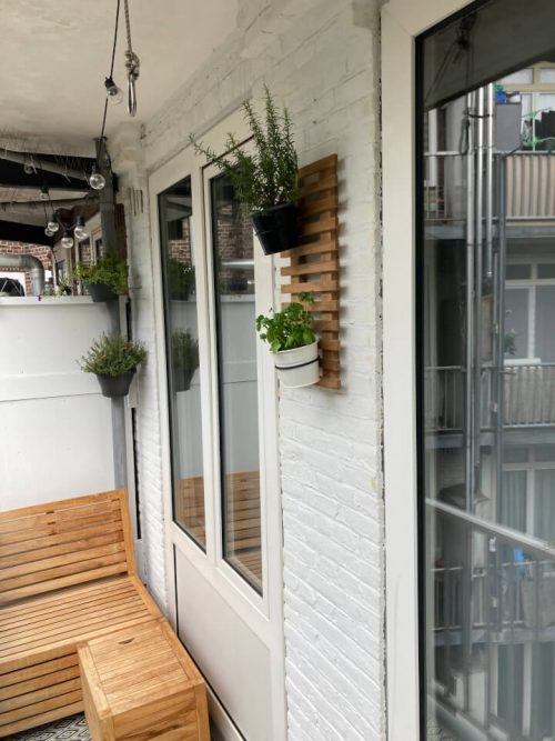 Teak plant wall rack - 30 x 60 cm