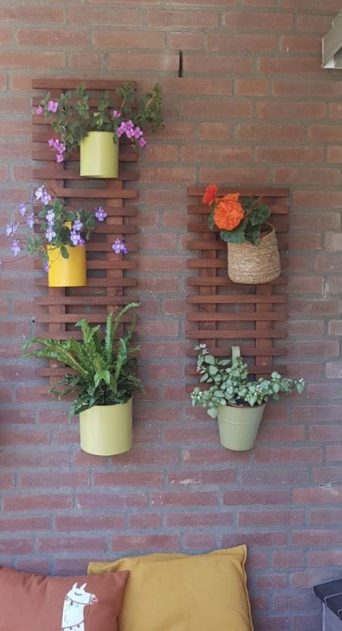 Teak plantenladder van 90 en 60 cm hoog