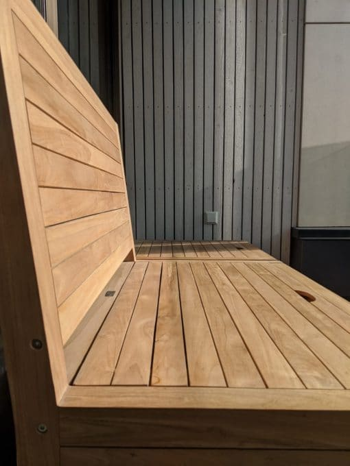 Teak balcony bench made longer with a balcony stool