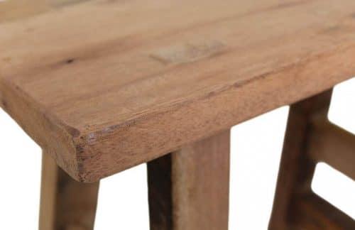 Teak balcony stool made from reclaimed teak detail photo