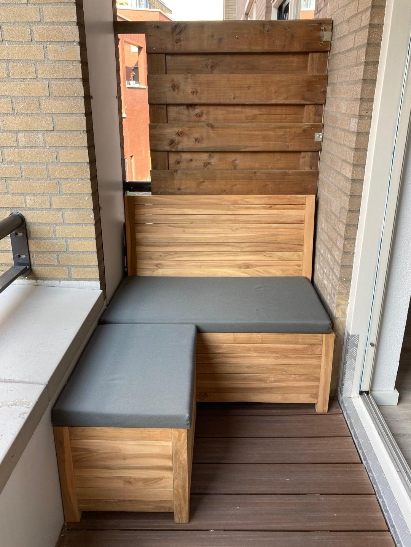 Met de balkonhocker tover je de balkonbank om tot een balkon loungeset!