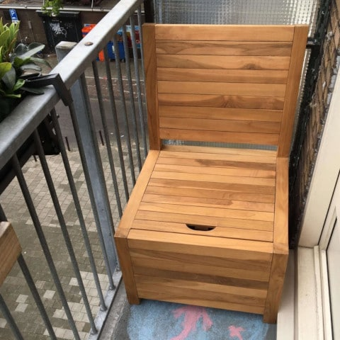 Balcony bench with storage space