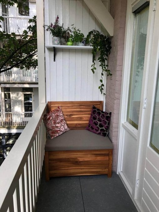 85 cm balcony bench with taupe cushion
