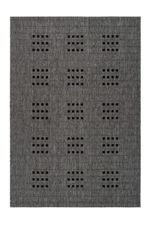 Balcony rug with a grey grille pattern. Very suitable for outdoor use.