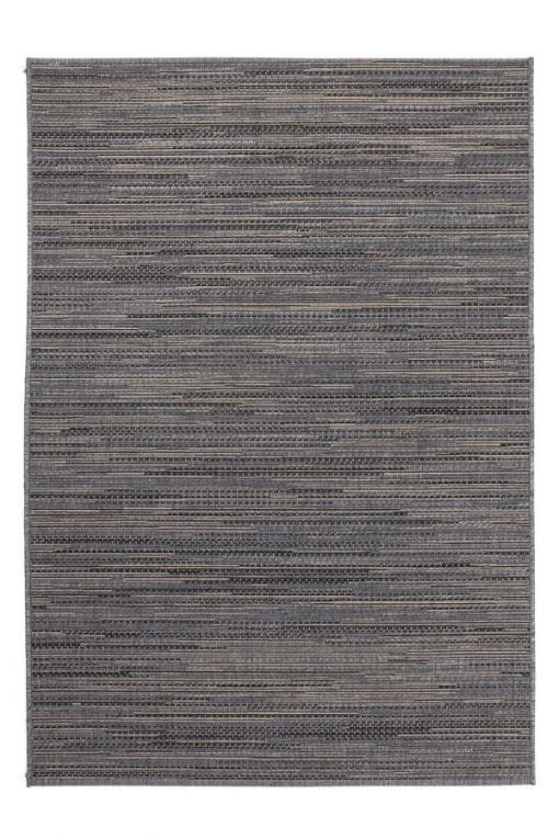 Grey balcony rug with a melange print. Very suitable for outdoor use.