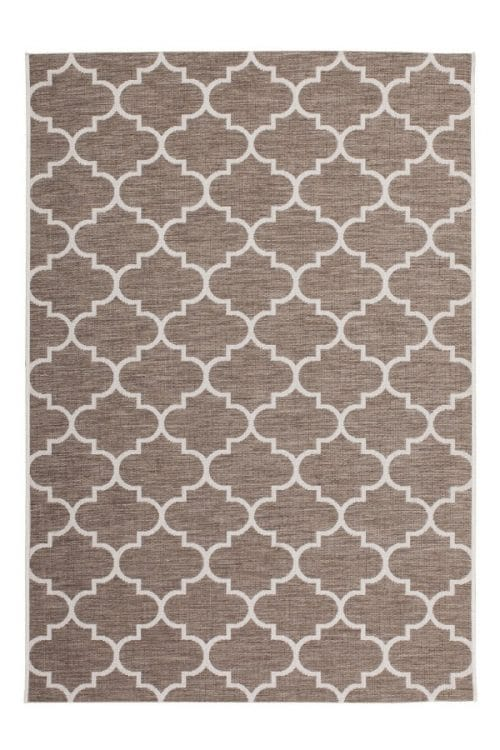 Beige balcony rug with Moorish print Very suitable for outdoor use.