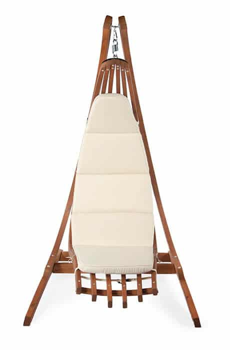optimist hanging chair holder with the wooden lounge hanging chair Wave. Front view