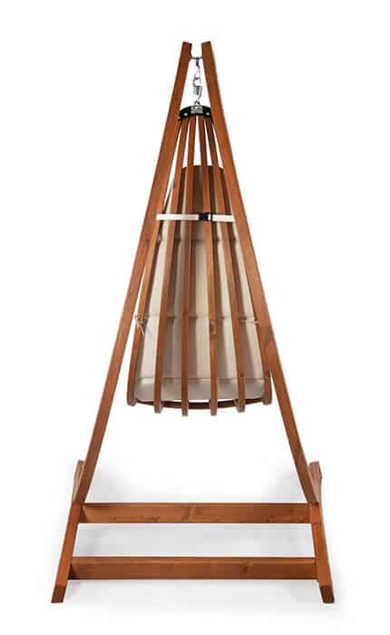 optimist hanging chair holder with the wooden lounge hanging chair Wave. Back view