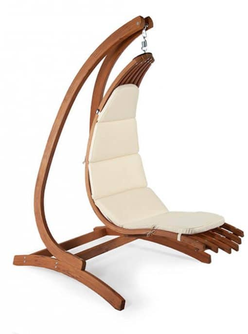 Wooden lounge chair Wave with Optimist wooden hanging chair holder