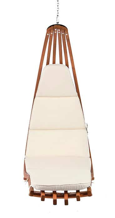 Wooden lounge hanging chair Wave with Polyester cushion. Front view