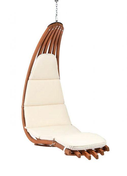 Houten lounge hangstoel Wave